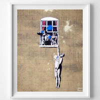 Banksy Print, Window Hanging Poster, Street Graffiti Art, Hanging on Window, Urban Artist, Stencil Art, Street Art, Valentines Day Gift