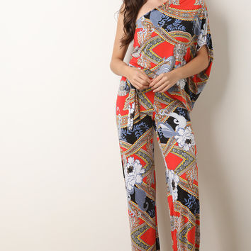 Paisley One Shoulder Palazzo Jumpsuit | UrbanOG