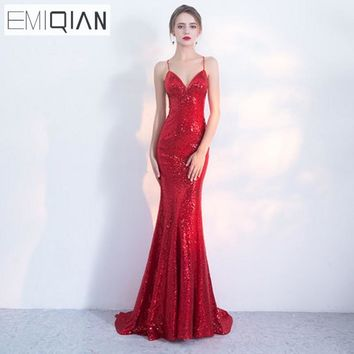 NEW Designer Red Sequin Formal Prom Party Dress Spaghetti Strap Backless Long Evening Dresses robe de soiree