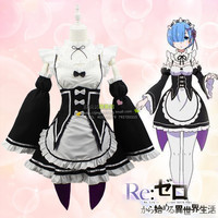 Re:Zero kara Hajimeru Isekai Seikatsu (Starting Life in Another World) Rem / Ram Cosplay clothes Costume Maid Servant Dress
