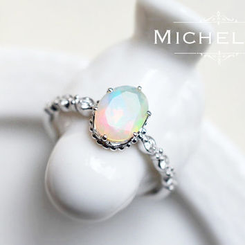 White Gold Opal Engagement Ring with Diamond, 14K or 18K Solid Gold Ethiopian Fire Opal Promise Ring, Rose Gold, October Birthstone