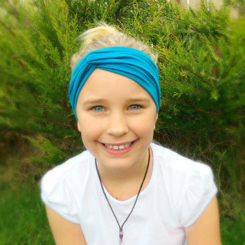 Child's Teal Turban Headband, Turban Twist, Head Wrap, Boho Headband, Hippie, Shabby Chic, Indi Fashion Accessory, Turband, Teen Gift Ideas,