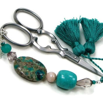 Scissor Fob, Cross Stitch, Needlepoint ,Sewing, Quilting, Gift, Teal, Beige Beaded, DIY Crafts