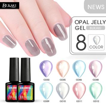 BUKAKI 6 Colors Opal Jelly Nail Gel Nail Art Tips UV Gel French Lacquer Hybrid Sugar Gel Varnishes Permanent Series Nail Glue