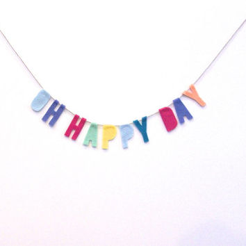Oh Happy Day felt banner, felt nursery banner, funfetti style party wedding banner
