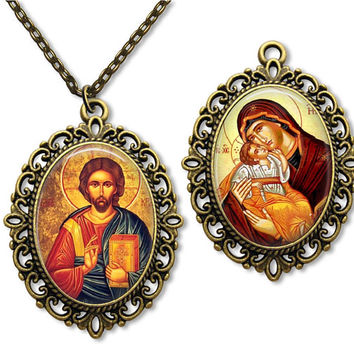 Religious Orthodox Icon Necklace Double Sided  Glass Tile Pendant Necklace 30 x 40