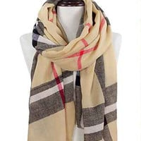 Beige Plaid Blanket Scarf