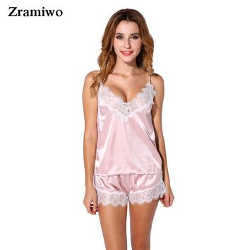 f831c7567b1 Satin Pajamas Set Lace Trim Pijama Short Pant Sexy Cami Bridal Sleepwear  Sets For Women
