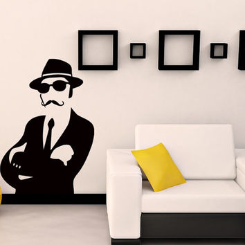 Wall Vinyl Decal Sticker Vintage Man with Mustaches Art Design Room Nice Picture Mural Decor Hall Wall Chu1351