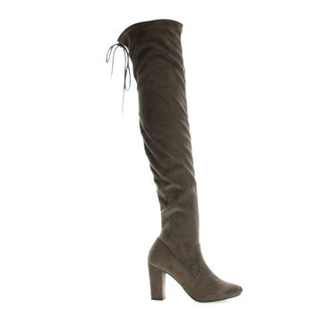Snivy Taupe by Delicious, Taupe Suede OTK Over The Knee Thigh High Slouchy Boots w/ Back Lace Tie & Block Heel