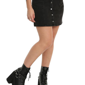 Blackheart Black Denim Snap Front Skirt