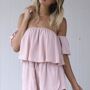 Your Girl Playsuit (Blush) | Xenia Boutique | Women's fashion for Less - Fast Shipping