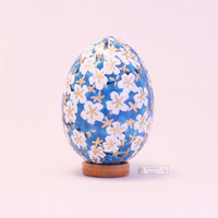 Handmade washi eggs, sky blue easter Eggs, chicken decoupage eggs, Japanese Chiyogami Paper, easter ornament, cherry blossoms