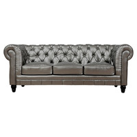 """Jamie 83"""" Tufted Sofa in Silver"""