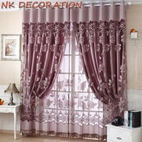NK 100*150cm Flower Tulle With Bead Sheer Window Panel Curtains Room Divider Window Screening For Living Room Bedroom Decoration