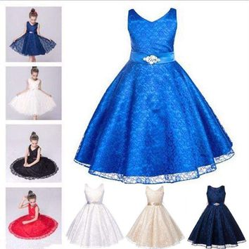 Pageant Flower Girl Dress Kids Wedding Bridesmaid Gown Formal Dresses Lace Up US