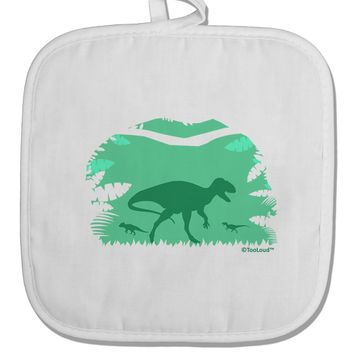 Dinosaur Silhouettes - Jungle White Fabric Pot Holder Hot Pad by TooLoud
