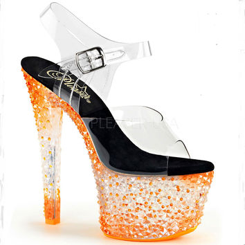 Icy Tangerine Neon 7 Inch Stripper Shoes With Ankle Strap