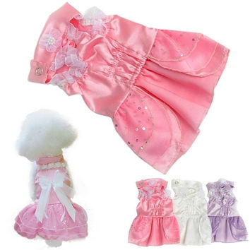 Fashion Pet Puppy Dog Girl Princess Formal Gown Clothes Suit Set Wedding Dress = 1715216900