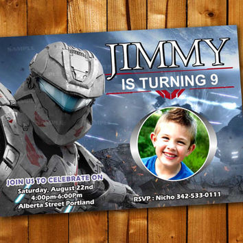 Halo Spartan Assault Game Invitation, Birthday Invitation for little boy and little girl