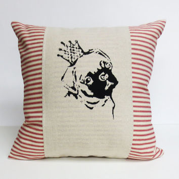 Pug Hand Screen Print Pillow - Decorative throw cushion cover