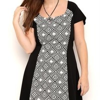 Plus Size Contrast Jacquard Skater Dress with Cap Sleeves