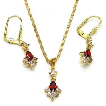 Gold Layered 10.213.0005 Necklace and Earring, with Garnet and White Cubic Zirconia, Polished Finish, Golden Tone
