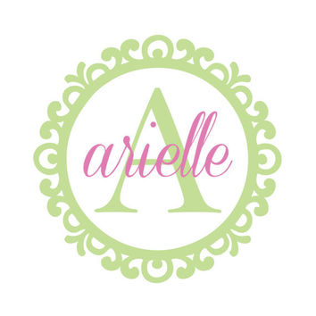 Personalized Shabby Chic Scroll Circle Name and Initial Wall Decal - Girl Baby Nursery Teen Bedroom Vinyl Wall Art Monogram 22H x 22W CN012