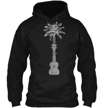 Funny Palm Tree Ukulele Shirt Beach Music Lover Cool T-shirt Pullover Hoodie 8 oz