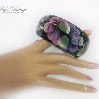 Vintage Hand Painted Floral Bangle / Green Bracelet, Pink, Purple Floral Wood Bracelet