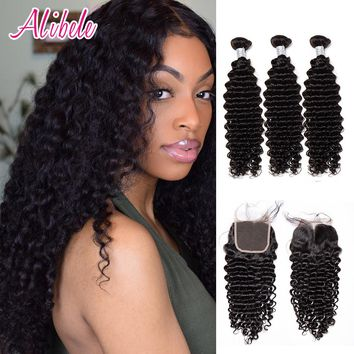 Alibele Peruvian Deep Wave Curly Hair Bundles with Closure, Lace Closure with 3/4 Bundles, Remy Human Hair Bundles with Closure