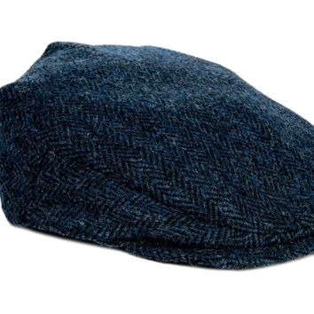 75adc15e137 Harris Tweed Herringbone Flat Cap - Navy Blue - Unisex - Bronte