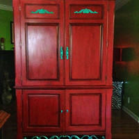 Red Armoire /TV Cabinet /Teal Blue Accent Painted by AquaXpressions