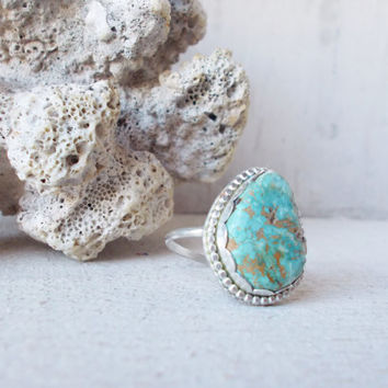 Natural light blue Royston turquoise sterling silver cocktail ring, freeform raw stone, minimalist forged artisan jewelry, size 8