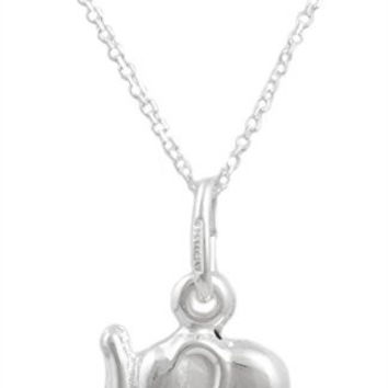 Real 925 Italy Sterling Silver Mini Elephant Pendant with an 18 Inch Link Necklace