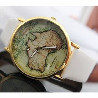 Australia Map PU Belt Watch 050219 Color White XDP 0617