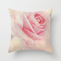 Antique Rose - pastel pink & cream vintage linen textured floral Throw Pillow by micklyn