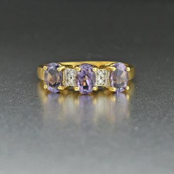 Gold Diamond & Amethyst Vintage Engagement Ring