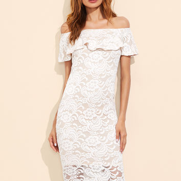 White Ruffled Lace Off Shoulder Dress