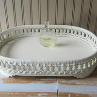 Vintage Wicker Cosmetics Perfume Tray White Wicker & Wooden Tray Oval Footed Vanity