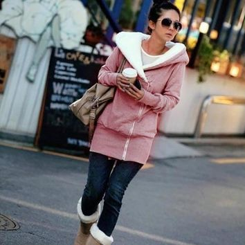 2017 Autumn Winter Women Hoodies Warm Fleece Cotton Coats Zip Up Outerwear Hooded Sweatshirts Casual Long Jackets Plus Size