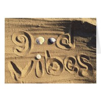 "Fun ""Good Vibes"" Quote In Sand Photo Blank Inside Card"