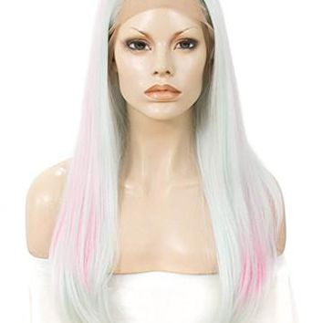 Long Begonia Ash White Pink Ombre Synthetic Lace Front Wig