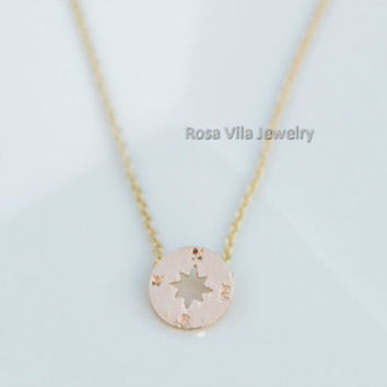 Compass Necklace - 2 colors available (rose gold and silver) - dainty, cute and lovely pendant jewelry; love compass
