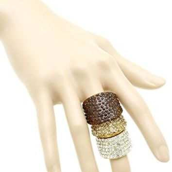 Pave Crystal Stone Armour Knuckle Stretch One Size Ring