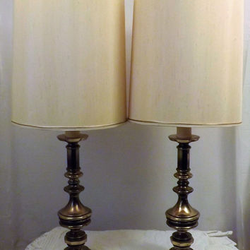 Vintage Westwood Solid Brass Pair Candlestick Table Lamps Shades