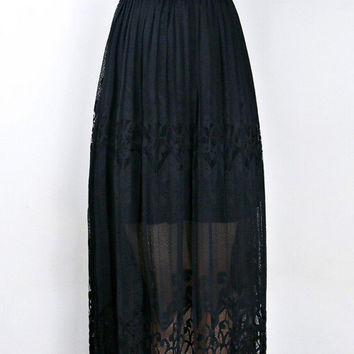 Black Floral Cut-Out Mesh Overlay Elastic Waist Pleated Maxi Skirt