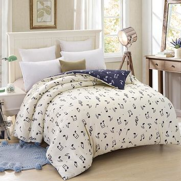 100% Cotton Bedding Set Twin Full Queen King Size 3/4pcs Duvet Cover Sets Cartoon Musical Notes of Bed Linen Bedclothes