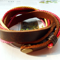 Spring Gift Multicolor Waxed Cotton Cord Braid Weaved Brown Leather Wrap Adjustable Metal Buttons Buckle Bracelet W-24