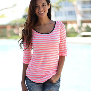Stripe Bow-Back Half-Sleeve Shirt
